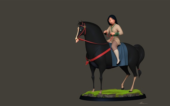 Fondos de pantalla Mulan, niña y caballo, cuadro de arte de la historieta