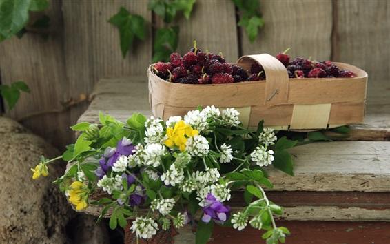 Wallpaper Mulberry berries, wildflowers