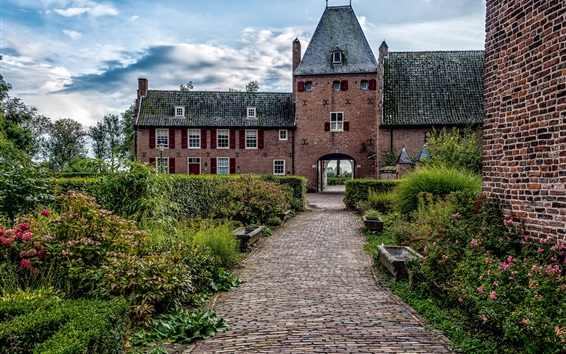 Wallpaper Netherlands, Castle Doorwerth, bushes, flowers, path