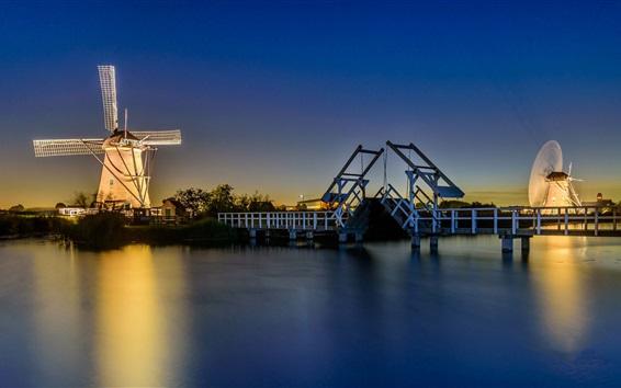 Wallpaper Netherlands, lights, windmill, river, bridge, night