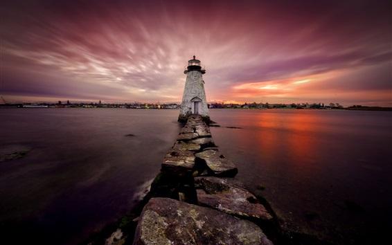 Wallpaper New Bedford, lighthouse, sea, night, Massachusetts, USA