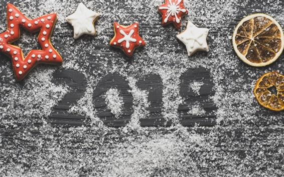 Fond d'écran Nouvel an 2018, biscuits, tranches d'orange séchées, sucre en poudre
