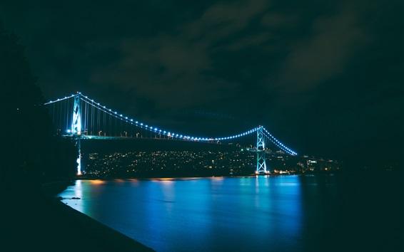 Papéis de Parede Noite, ponte, rio, iluminação