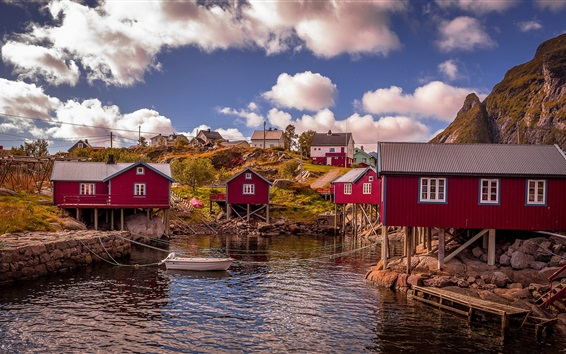 Wallpaper Norway, bay, red wood houses, water, clouds
