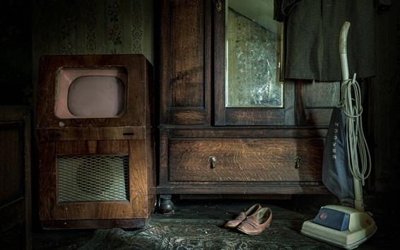 Papéis de Parede Mobiliário antigo, TV, guarda-roupa, aspirador de pó