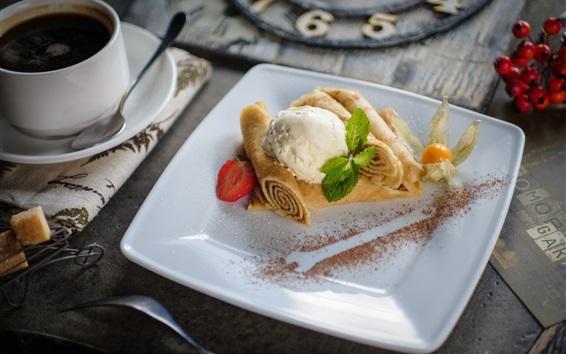Wallpaper Pancake roll, ice cream, strawberry