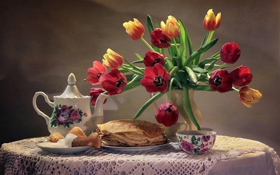 Wallpaper Pancakes, tulips, tea