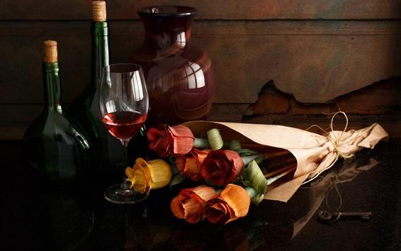Papéis de Parede Rosas de papel, vinho, garrafa, copo