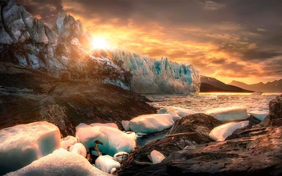 Papéis de Parede Patagônia, Argentina, gelo, iceberg, pedras, lago, amanhecer