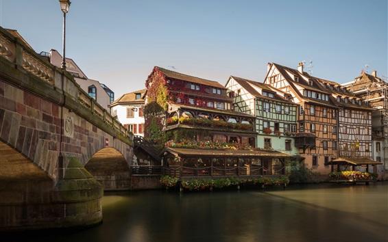 Fondos de pantalla Petite France, río, puente, casas, Corea