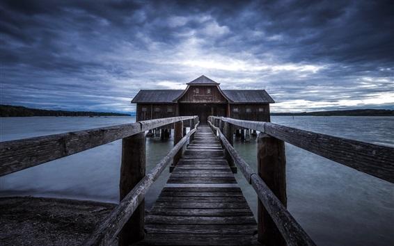 Fond d'écran Pier, pont, maison en bois, lac