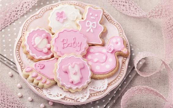 Fond d'écran Biscuits roses, assiette