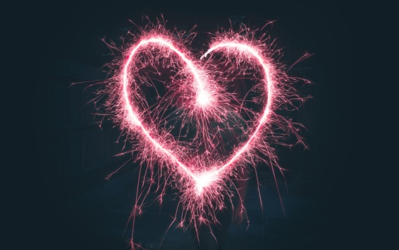 Wallpaper Pink love heart sparks