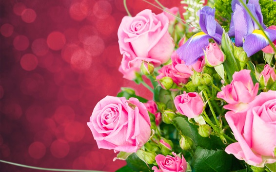 Wallpaper Pink roses, irises, bouquet, flowers