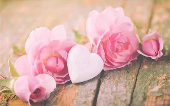 Wallpaper Pink roses, love heart, Valentine
