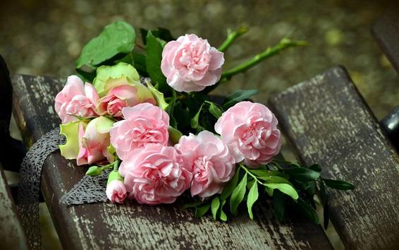 Обои Розовые розы, лепестки, скамейка