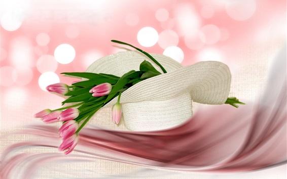Papéis de Parede Tulipas cor-de-rosa, chapéu