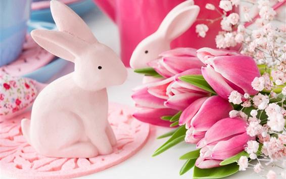 배경 화면 핑크 튤립, 토끼 장난감, 부활절