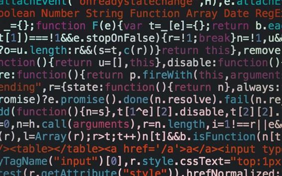 Обои Программный код, красочные буквы, экран