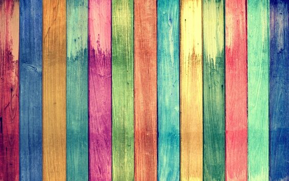 Wallpaper Rainbow colors wood board background