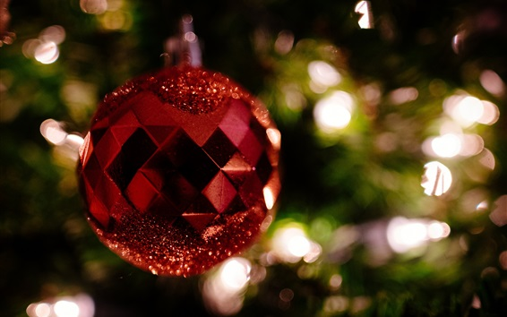 Papéis de Parede Bola de Natal vermelha, decoração, bokeh