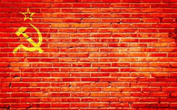 Wallpaper Red bricks wall, hammer and sickle
