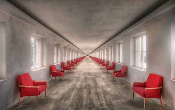 Wallpaper Red chairs, windows, channel