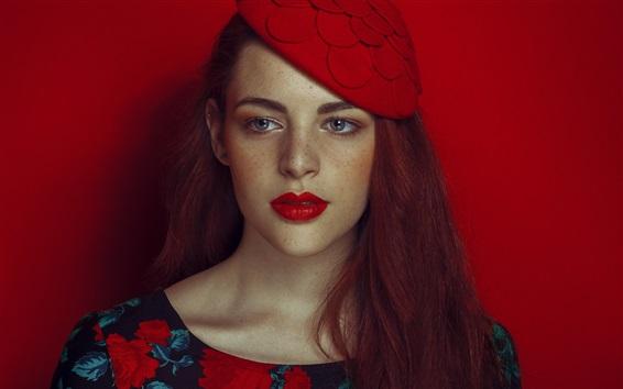 Wallpaper Red hair girl, lipstick, freckles