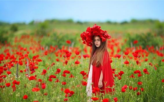 Wallpaper Red poppy flowers field, child girl, wreath