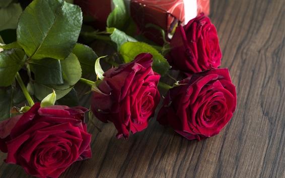 Papéis de Parede Rosas vermelhas, presente