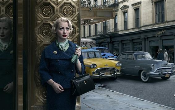 Wallpaper Retro, girl, cars, city, New York