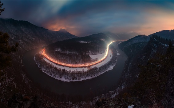 Wallpaper River, roads, light lines, mountains, trees, night, fog