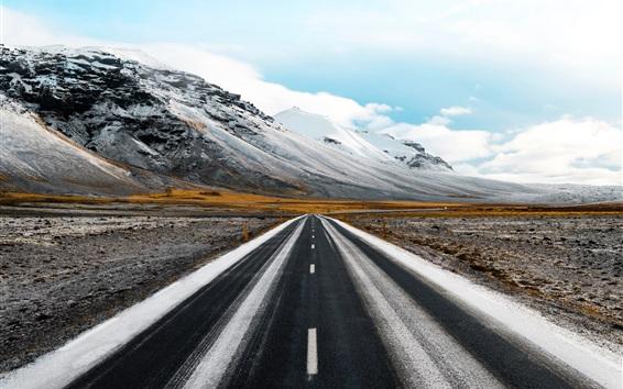 Wallpaper Road, mountains, snow, grass