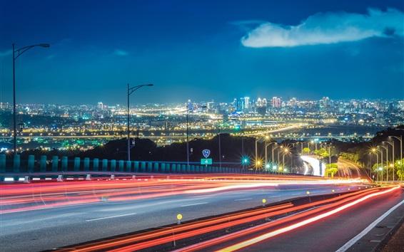Wallpaper Roads, light lines, city, night, buildings, illumination