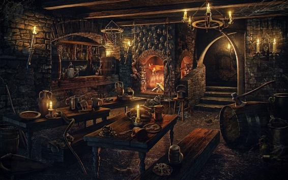 Fond d'écran Chambre, cheminée, bougies, crânes, table en bois, photo d'art