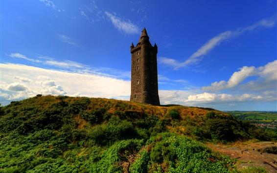 Wallpaper Scrabo Tower, Ireland, blue sky, clouds