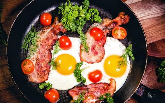 Wallpaper Scrambled eggs, tomatoes, pan, greens, meat