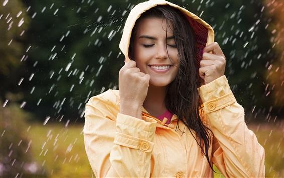 Wallpaper Smile girl in rain