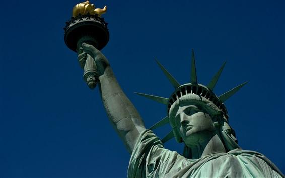 Обои Статуя Свободы, Нью-Йорк, США, корона, факел, голубое небо