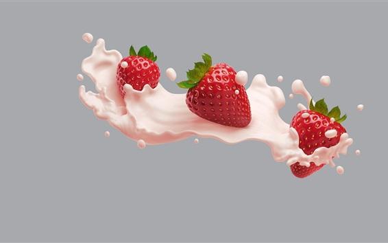 Wallpaper Strawberry, pink milk