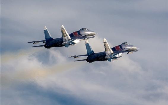Fondos de pantalla Su-30 SM cazas, dos aviones