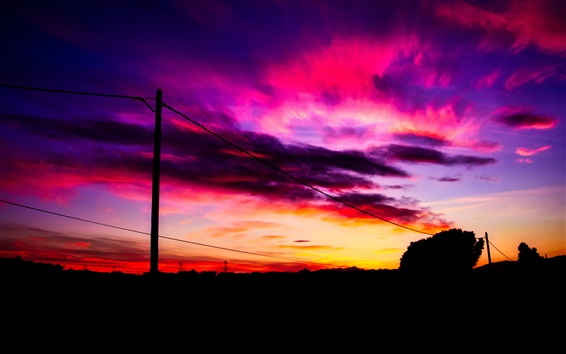 Wallpaper Sunset, red sky, clouds, wire