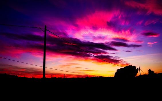 Sonnenuntergang, roter Himmel, Wolken, Draht 3840x2160 UHD 4K ...