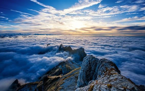 Papéis de Parede Suíça, Monte Santis, picos, nuvens, nascer do sol