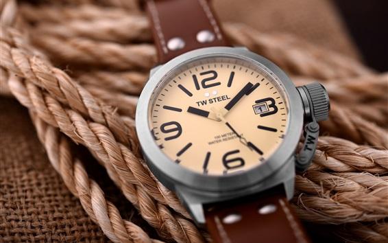 Papéis de Parede TW relógio de aço, corda