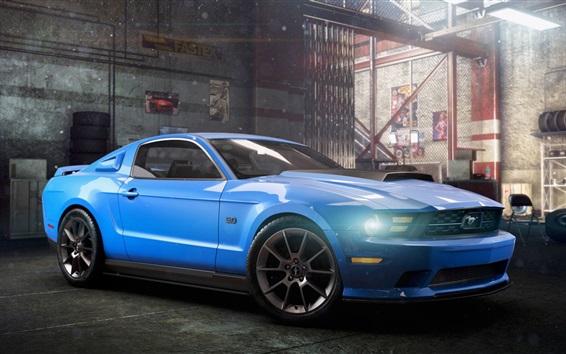 Fond d'écran The Crew, voiture Ford Mustang bleue