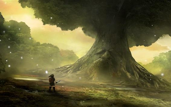 Fondos de pantalla The Legend of Zelda, Nintendo, juego, gran árbol, imagen artística