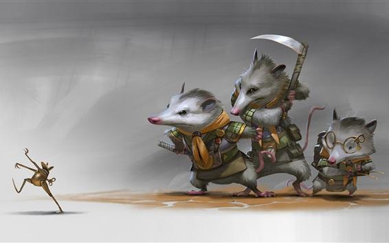 Wallpaper Toy frog, rat, illustration