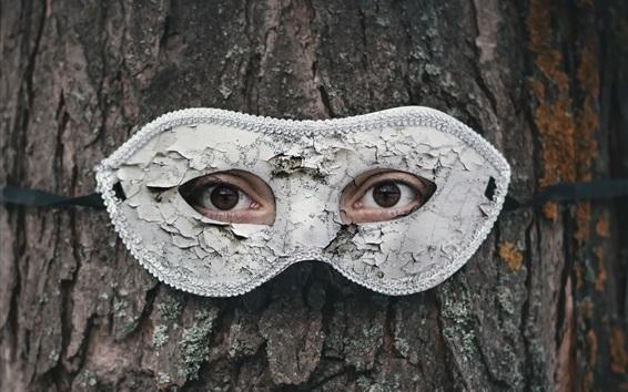 Papéis de Parede Árvore, olhos, máscara