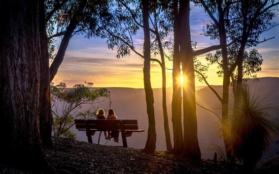 Papéis de Parede Árvores, nascer do sol, banco, crianças, manhã